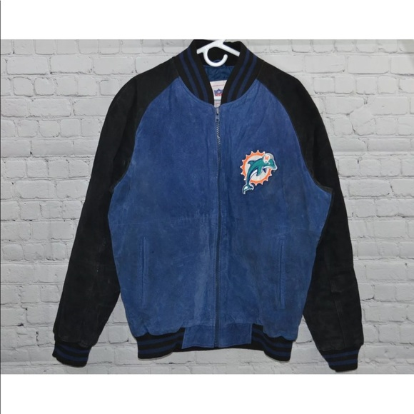 finest selection 004f9 9fe1a VINTAGE NFL Miami Dolphins Seude jacket